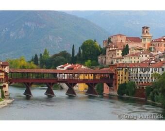 """Fine Art Color Landscape Photography of Bridge in Bassano Italy - """"View of Bassano and Ponte Vecchio"""""""