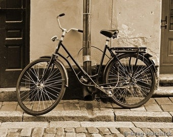 Fine Art Sepia Photography of Bicycle in Stockholm Sweden - Vintage Style Print