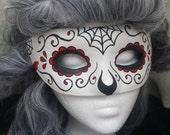 Day of the Dead Mask Red Spiderweb