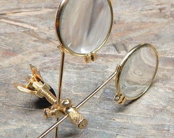 GOLD STEAMPUNK LOOPS - Gold Metal Framed Double Jewelers 'Clip On' Magnifying Eye Loupes with Adjustable Spring