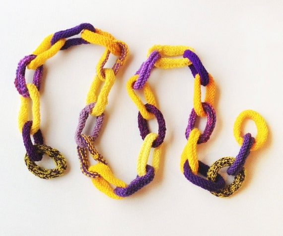 Sunshine Chain Scarf - Sunshine Yellow & Purple Skinny Chain Link Scarf - Gifts for Teens / Ladies - Purple and Sunny Yellow Autumn Scarf