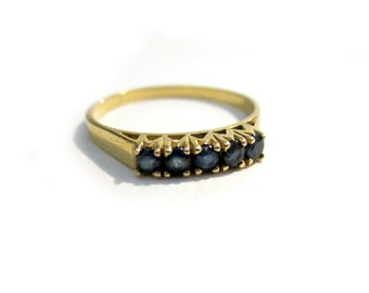 Vintage 14K Plumb Gold Sapphire Ring Genuine Sapphires September Birthstone Yellow Gold Ring Size 7 Band Gift for Her