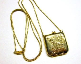 "Locket Necklace Compact Stash Gold Vintage 30"" Long Necklace"