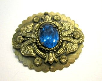 "Vintage Blue Glass Brooch Large Art Deco Vintage Pin 2"" Large Gold Pin for Her Wedding Pin Something Blue Gift Under 50"