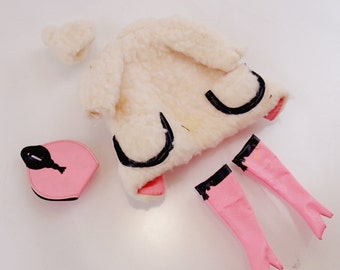 Lamb n Leather Pink and White Furry Wool Coat Thigh High Boots Purse Beanie Hat Cap Vintage Mod Barbie Doll Mattel Clothes Accessories