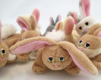 Galoob Pound Bunnies Bunny Rabbit Puppies Lot of 10 Mini Plush Brown Tan Gray White Cream Vintage Miniature Mini Tiny Easter Spring 90s