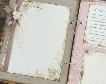 Pink Floral Vintage Theme Shabby Handmade Baby Girl Book, - Rustic Baby Girl - Cottage Chic
