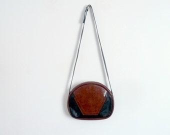 Shoulder Bag Leatherette Black and Brown Vintage 1980s
