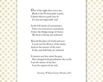 Master of my fate, Captain of my soul quote, Invictus poem print