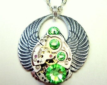 Peridot Green Crystal Steampunk Scarab Necklace, Ruby Jeweled Watch Movement, Edwardian Jewelry, Cosplay Jewellry, Steam Punk Goth,OOAK