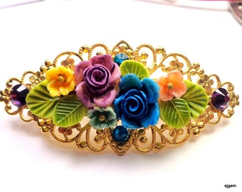 Flower Garden Crystal Barrette, Multi-Color, Rose,Vintage Style,Hair Accessories,Bride,Bridesmaid Filigree Barrette,Amethyst & Teal Crystals