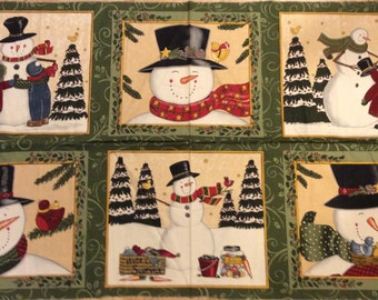 An Adorable Makin New Friends Snowmen In The Winter Fabric Panel Free US Shipping
