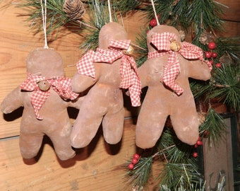 Primitive Christmas Grubby Gingerbread Men Ornies Doll-Tucks Set Of 3-FAAP