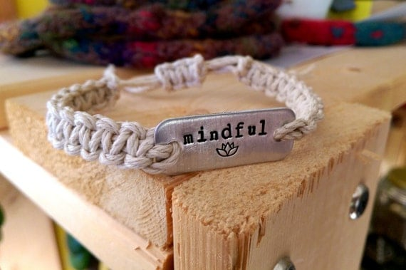 mindful stamped bracelet with lotus flower // adjustable natural hemp bracelet