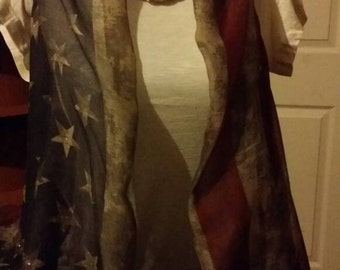 American Flag Vintage infinity Scarf made into Vest
