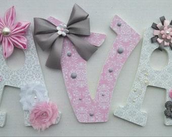 Custom Nursery letters, custom wood letters, AVA sample name, nursery decor, letters, custom wall letters, embellished letters