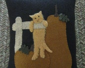 Hanging around in the Pumpkin Patch Kitty Cat Wool Applique Pillow