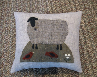 Black Sheep Primitive All Wool Folk Art Pillow Red Birds