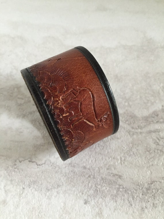 Women's Handmade Brown Leather with Stamped Wilderness Scene