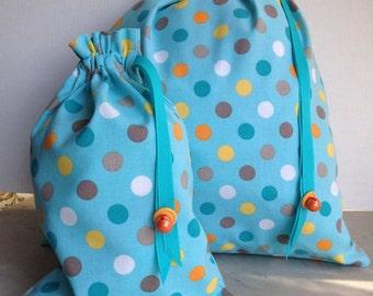 Pretty Simple Drawstring Project Bag Set - Blue Polka Dot - orange aqua gray white yellow
