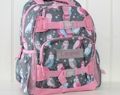 Large Pottery Barn Backpack With Monogram (Large Size) -- Gray/Pink Owl
