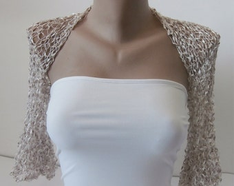 Knit Milk White and Light Champagne Bridal Bolero Shrug Sleeves Wrap, Wedding Bolero in One size Weddings Bridal Bridesmaid Women Cover