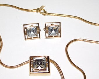 Avon Signed Necklace and Earring Set CZ