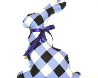 Easter Bunny in Lavender, Black and White Plaid