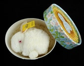 Vintage Steiff PomPom Bunny #7141/06 Made in Germany with Vintage Printed Gift Box