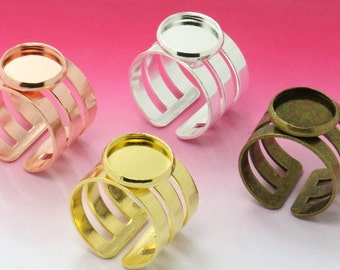 20 Ring Base Brass Silver/ Gold/ Rose Gold/ Bronze Plated Adjustable Ring Blanks W/ 12mm Round Bezel Setting Wholesale