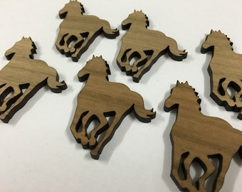 Wild Pony in Queensland Walnut timber. Laser cut brooch supply - 6 pieces