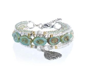 Buddha symbol charm bracelet - buddha pendant - yoga bracelet - yoga jewelry - meditation jewelry - buddha jewelry - beaded multiple strands