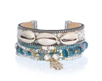 Beach jewelry - natural cowrie shell bracelet - bohemian multistrand bracelet set - boho jewelry - summer jewelry hamsa hand charm bracelet