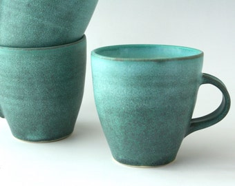 Teal green blue large mug