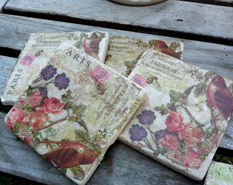 Drink coasters, vintage style in a Paris theme pinks, greens, purples, decoupaged set-two or four for wine, coffee, great wedding gift idea