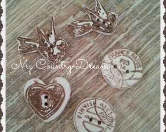 """Handmade Buttons """"Vintage Post"""" - handmade polymer clay buttons - set of 5 pcs."""