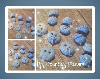 """Handmade buttons """"Yarn"""" - polymer clay buttons."""
