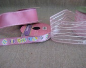Assorted Baby Pink Ribbon /  DeStash Supplies Ribbon - Pink and White, Easter / Ribbon Remnants