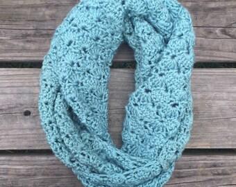 Blue Crochet Shell Stitch Scarf - Infinity Scarf