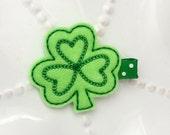Green Shamrock Hair Clip- for St Patrick's Day- Irish