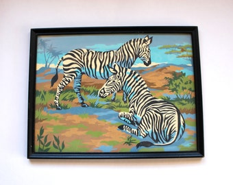 Vintage 1960s Zebra Paint-By-Number with Original Frame! Mid Century Kitsch!