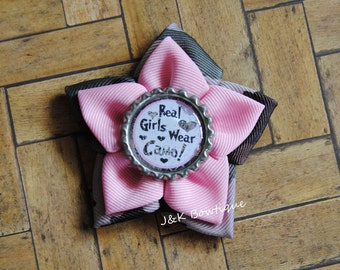 Real girls wear camo....ribbon flower bow....light pink and camo