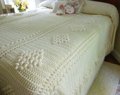 Beautiful Vintage Hand Crocheted Heavy Coverlet Bedspread Crocheted Bedspread/Coverlet Twin Full Queen King Free Shipping