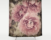 "Shower Curtain/ Peony Floral Vintage Pink and Green Photography Print Bath Curtain / Standard Size (71""x74"")"