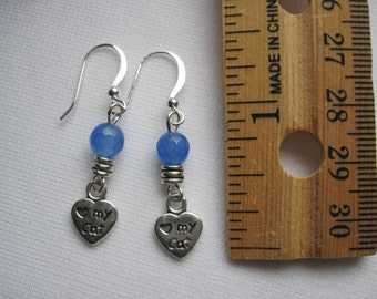 Love my cat dangling earrings with blue bead on hypoallergenic ear wires by ggbeads