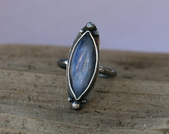 25% OFF SALE - Kyanite Marquese Crystal Sterling Silver Oxidized Ring - Size 6/7