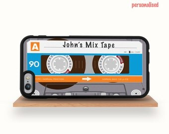 iPhone 7/7 Plus Case, iPhone 6/6S Case, iPhone 6/6S Plus Case, Personalised Music Tape, iPhone 5/5S Case Mix Tape Cassette Blue iPhone Case