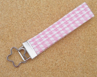 Pink and White Houndstooth Key Fob Wristlet