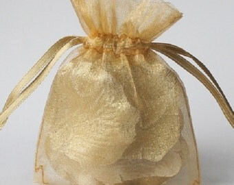 Wedding Favors Table Decorations Gold 3x4 Organza Bags 100