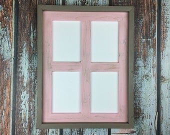 5x7 Picture Frame Rustic Weathered Multi Opening Frame Collage for- four 5 x 7 Photos or Prints, Choose Your Colors